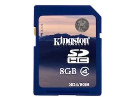 Kingston 8GB SDHC Memory Card, Class 4, SD4/8GB, 7539682, Memory - Flash