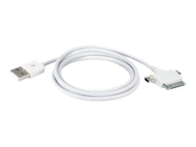 QVS USB Type A to USB Mini USB Micro 30-pin Dock Sync and Charge 3-in-1 Cable, White, 1m