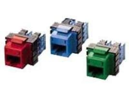 Hubbell SPEEDGAIN Xcelerator category 5E jacks, Red, 25-pack, HXJ5ER25, 348064, Premise Wiring Equipment