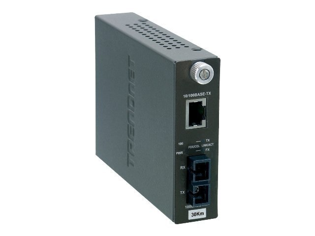 TRENDnet 10 100BaseTX to 100BaseFX Single-Mode Fiber Converter (30Km) with SC Type Connector, TFC-110S30