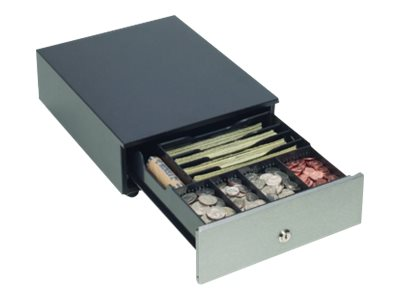 MMF Cash Drawer Val-U-Line Compact Stainless Front 4-Bill  4-Coin 9.62 x 12.56 x 3.5, Black, MMFVAL1004, 19286547, Cash Drawers