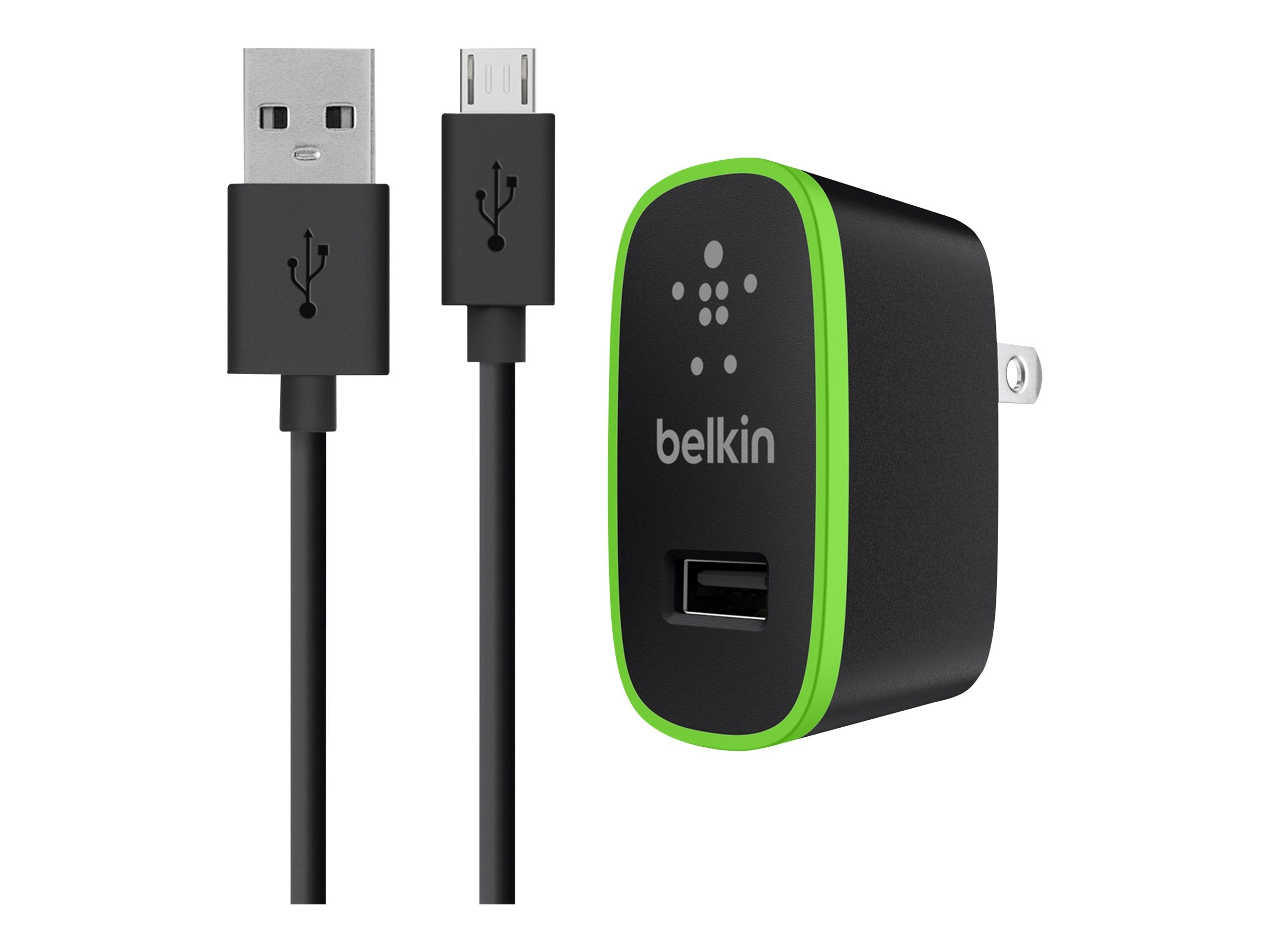 Belkin Universal Home Charger, Micro-USB Charge Sync Cable, 10W 2.1A, Black, F8M667TT04-BLK