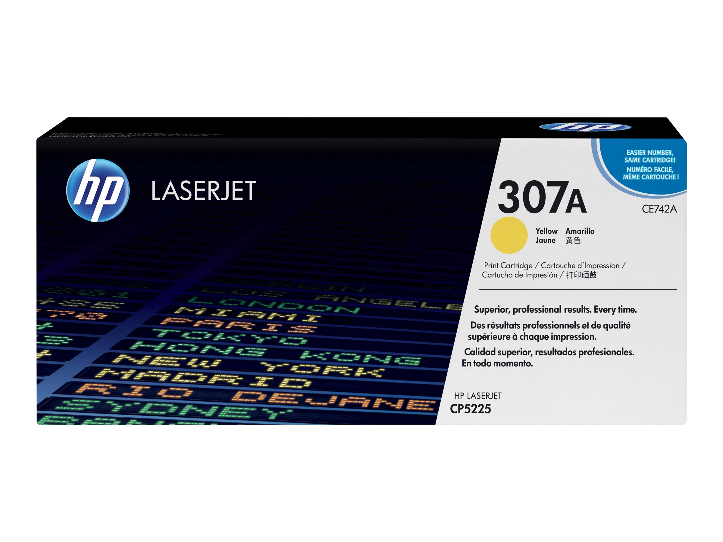 HP 307A (CE742A) Yellow Original LaserJet Toner Cartridge, CE742A, 12077291, Toner and Imaging Components