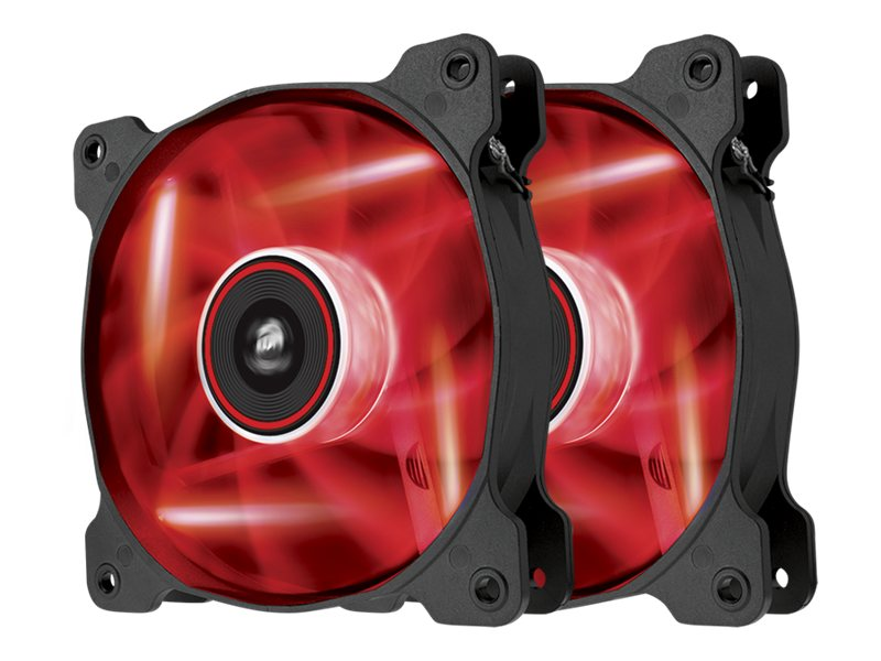 Corsair Air Series AF120 Case Fan Quiet Edition Red LED, Twin Pack, CO-9050016-RLED, 16375093, Cooling Systems/Fans