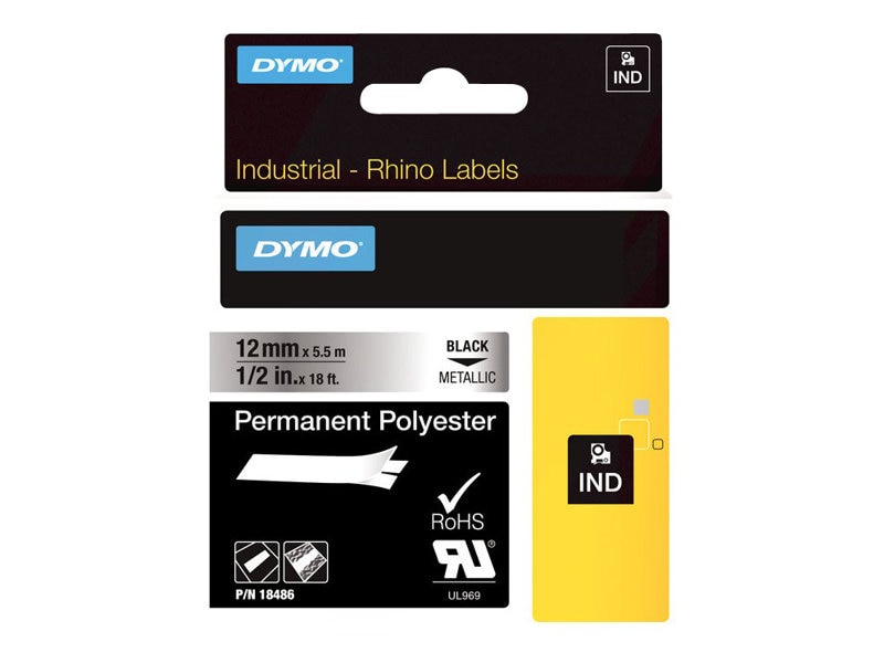 DYMO RhinoPRO Metallized Permanent Polyester Tape 1 2 x 18', 18486, 4821412, Paper, Labels & Other Print Media