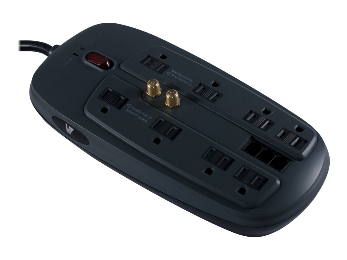 V7 Surge Protector (8) Outlet 1800 Joules Tel+Coax 6ft Cord Black, SA0806B-8N6