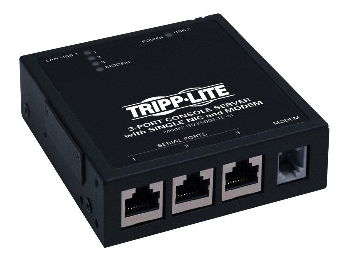 Tripp Lite 3-port IP Serial Console Terminal Server Built-in Modem, B095-003-1E-M
