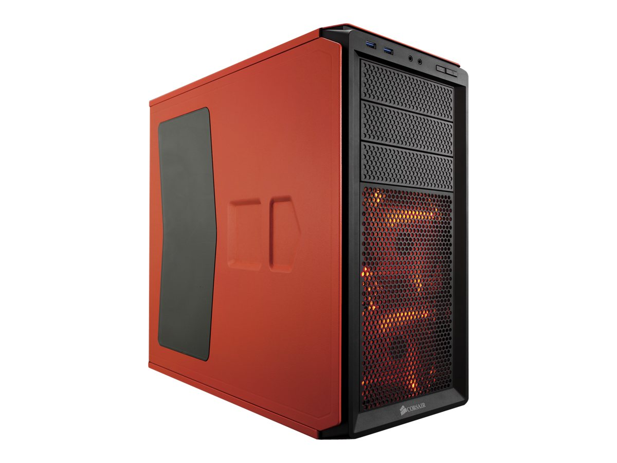 Corsair Chassis, Graphite Series 230T Compact Mid Tower Windowed ATX 4x3.5 Bays 7xSlots No PSU, Orange, CC-9011038-WW