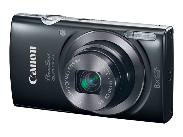 Canon PowerShot ELPH 160 Camera, 20MP, 8x Zoom, Black, 0134C001, 18524363, Cameras - Digital - Point & Shoot