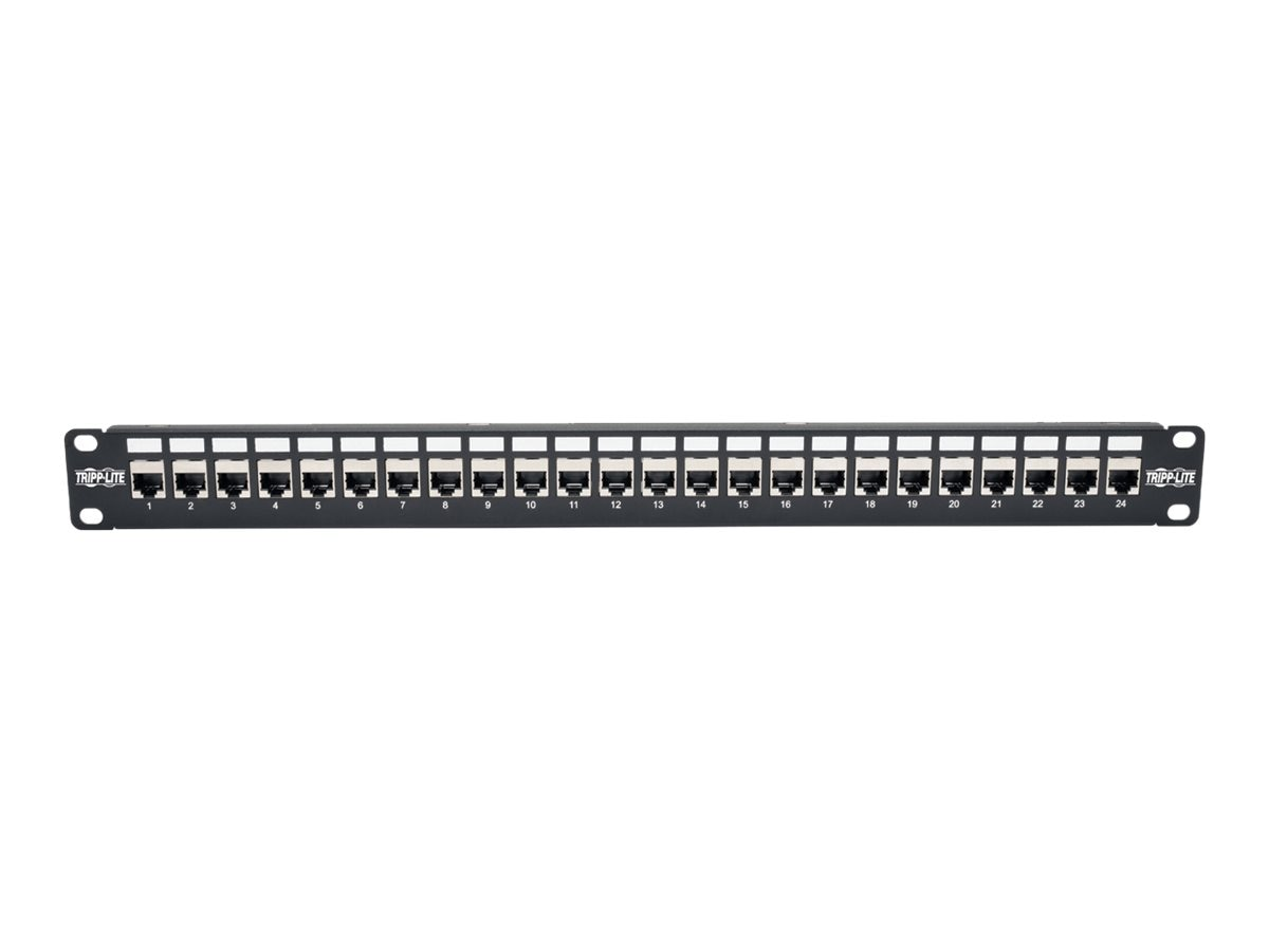 Tripp Lite 24-Port 1U Rack-Mount STP Shielded Cat6a Feedthrough Patch Panel, N254-024-SH-6A, 30657652, Patch Panels