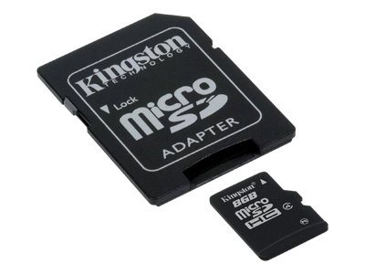 Kingston 8GB microSDHC Flash Memory Card with SD Adapter, Class 4, Bulk Pack