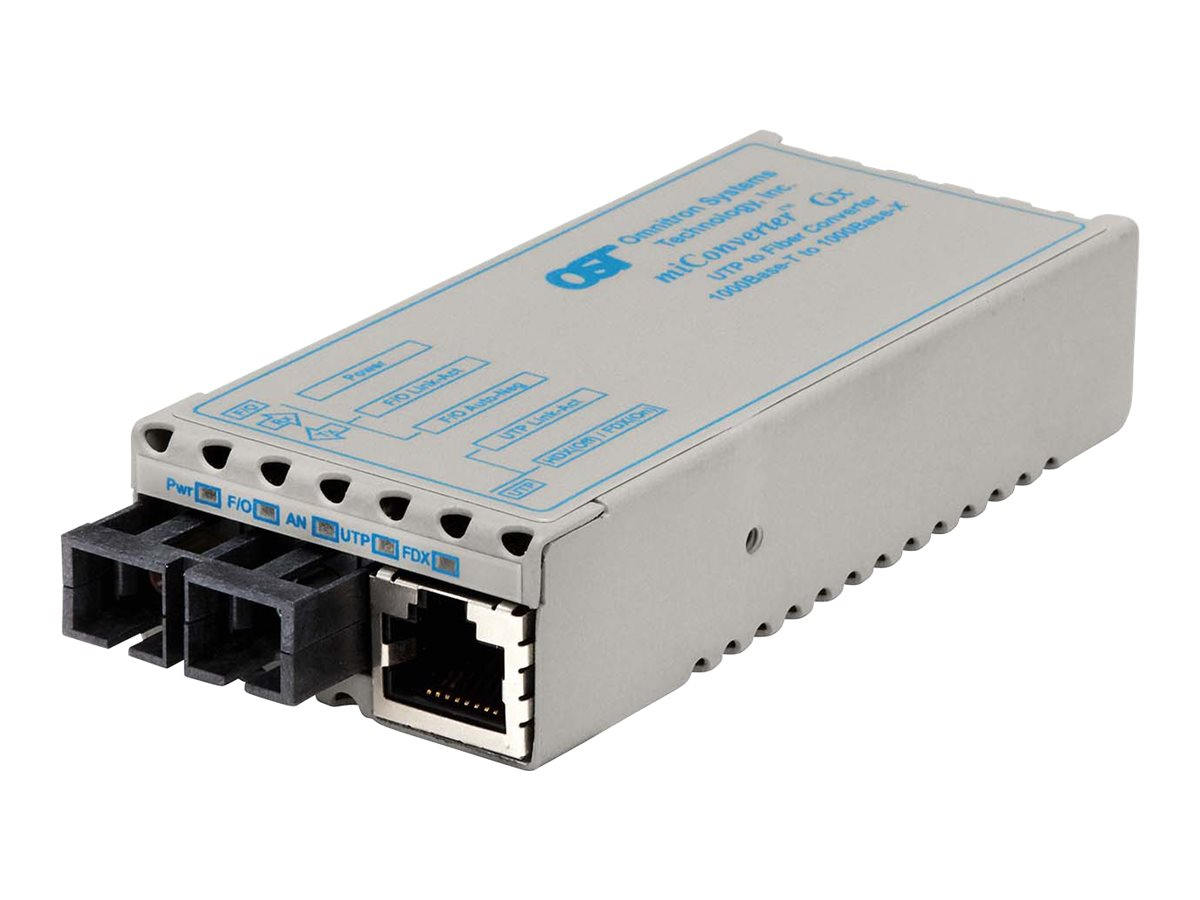 Omnitron Miconv 1000BT RJ45 to 1000B-LX SC SM 1310NM 12KM US Power, 1203-1-1, 9402778, Network Transceivers