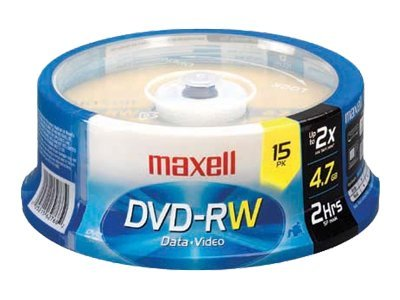 Maxell 4.7GB DVD-RW Media (15-pack Jewel Cases), 635117, 9706712, DVD Media