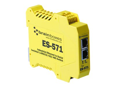 Brainboxes Isolated Industrial Ethernet to Serial 1xRS232 422 485 + Ethernet Switch, ES-571