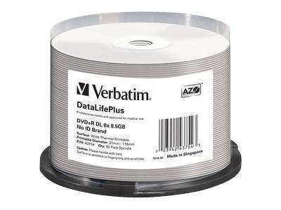 Verbatim DVD+R DL White Thermal Media (50-pack), 43754, 14778614, DVD Media