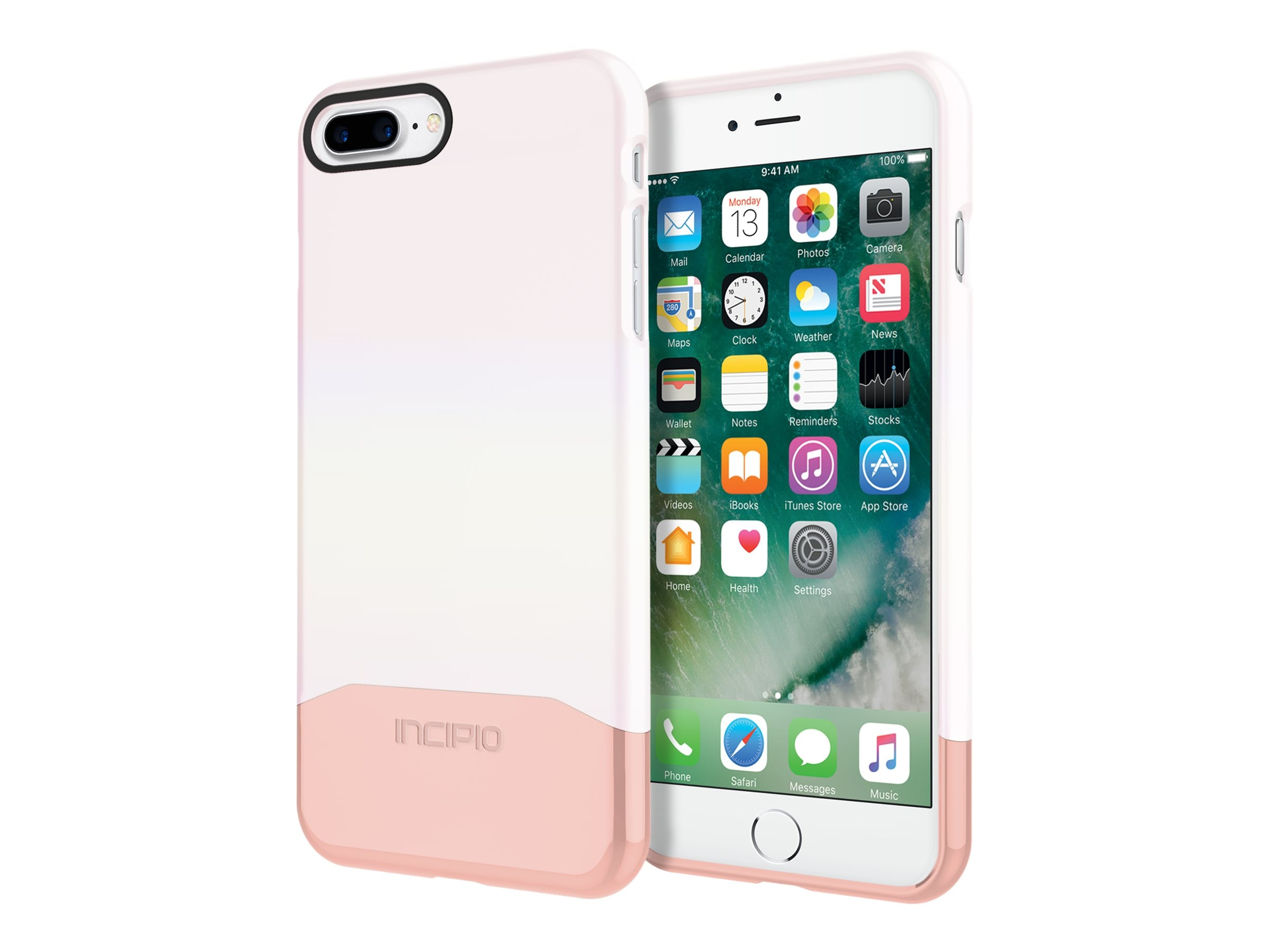 Incipio Edge Chrome Two-Piece Slider Case for iPhone 7 Plus, Iridescent White Opal Chrome Rose Gold, IPH-1501-WRG