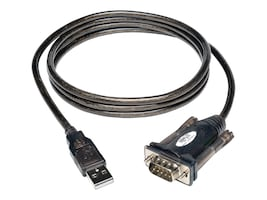 Tripp Lite USB Type A to DB9 M M Serial Adapter Cable, Black, 5ft, U209-000-R, 230962, Cables
