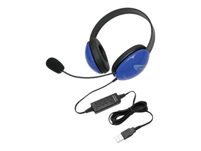 Listening First Stereo Headset with USB, Blue, 2800BL-USB, 16322557, Headsets (w/ microphone)