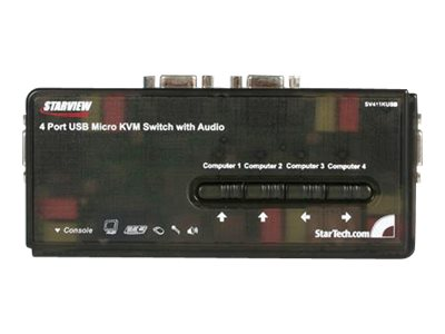 StarTech.com 4-Port USB Micro KVM Switch with Audio, SV411KUSB