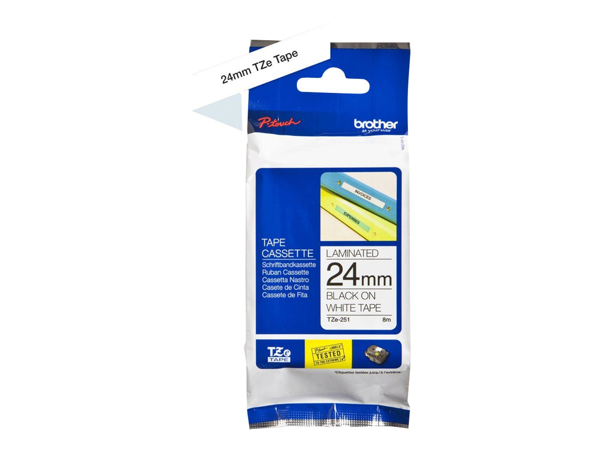 Brother 0.94 x 26.2' TZE251 Black on White Tape for P-Touch 8m, TZE-251