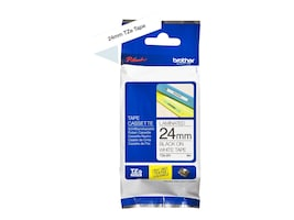 Brother 0.94 x 26.2' TZE251 Black on White Tape for P-Touch 8m, TZE-251, 12427984, Paper, Labels & Other Print Media