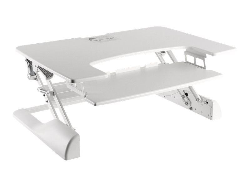 Ergotech Fully Assembled Sit Stand Desktop Workstation, White