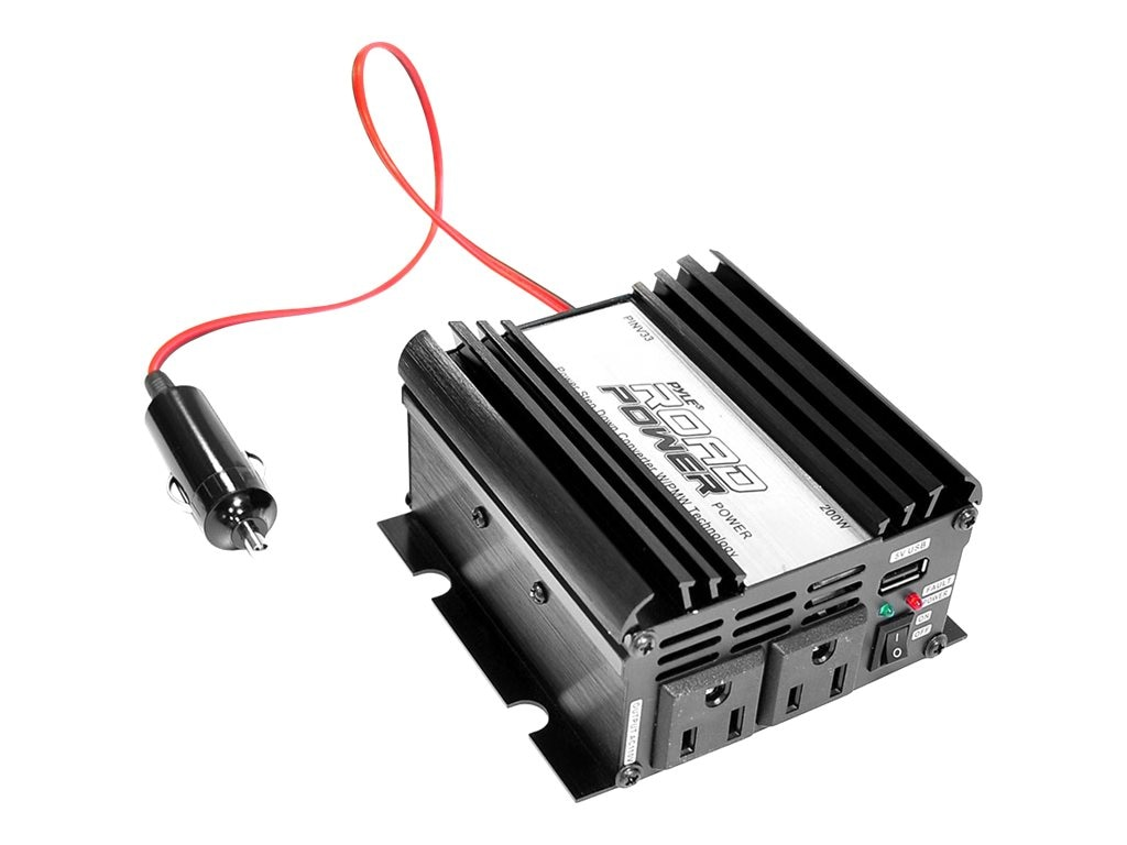 Pyle Plug-in Car 200 Watt 12VDC to 115 Volt AC Power Inverter w  Modified Sine Wave & 5 Volt USB Outlet, PINV33