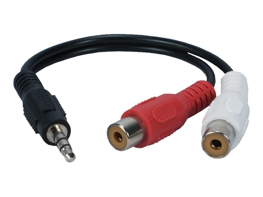 QVS 3.5mm Mini-Stereo Male to Two RCA Female Speaker Adapter, 6, CC399MF, 16745509, Cables