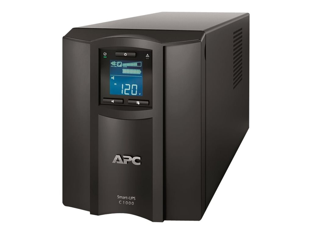 APC Smart-UPS C 1000VA 600W 120V LCD Tower Serial, USB interface, SMC1000, 14008046, Battery Backup/UPS