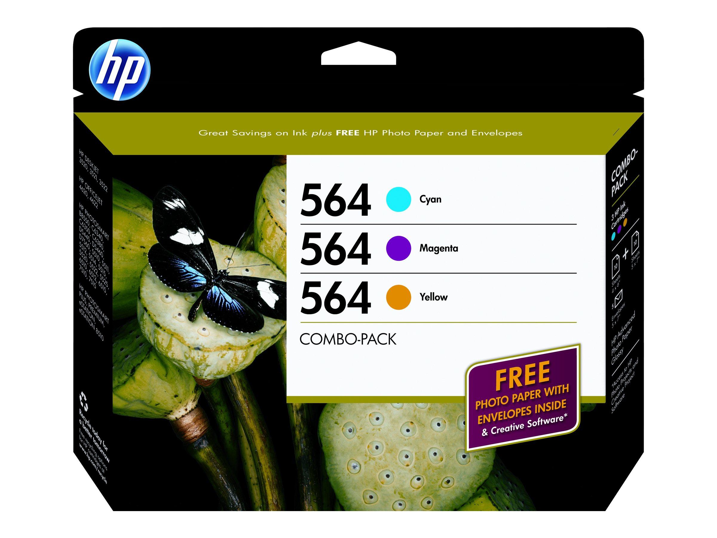 HP 564 (B3B33FN) 3-pack Cyan Magenta Yellow Original Ink Cartridges w  Photo Paper