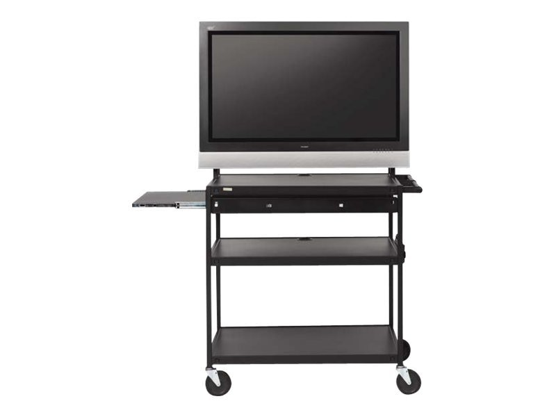 Bretford Manufacturing Wide Body LCD TV Cart for Monitors up to 100lbs with Shelf, With Electric, FP60UL-E5BK, 12973088, Computer Carts