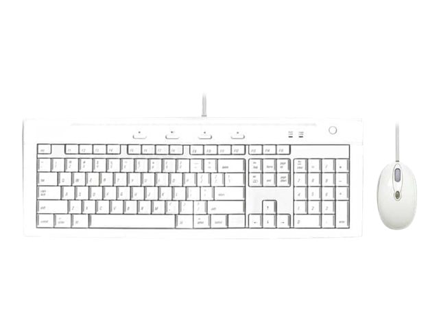 Macally iKey Slim Combo - USB Slim Keyboard with 2-Port USB Hub and Optical Game Mouse