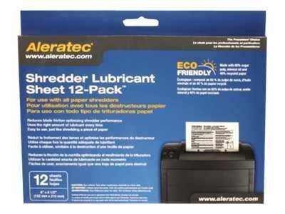 Aleratec Shredder Lubricant Sheets, 12-Pack, 240165, 12407140, Office Supplies