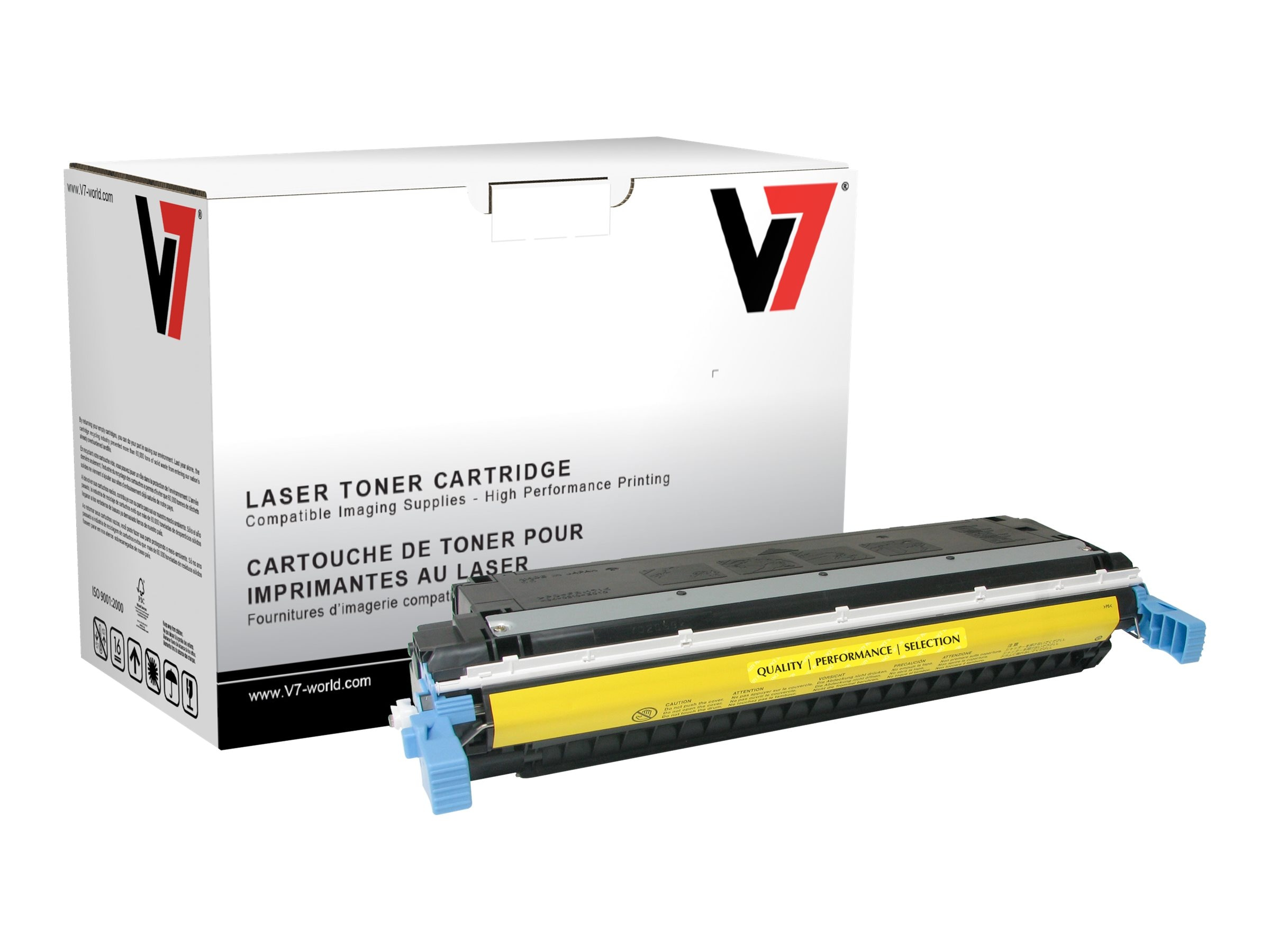 V7 C9732A Yellow Toner Cartridge for HP LaserJet 5500 (TAA Compliant), THY29732A