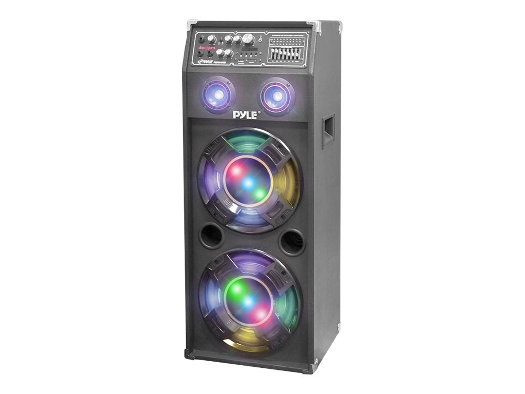 Pyle 1400-Watt Disco Jam Powered Two-Way PA Speaker System with USB SD Readers, FM Radio, 3.5mm AUX, PSUFM1245A