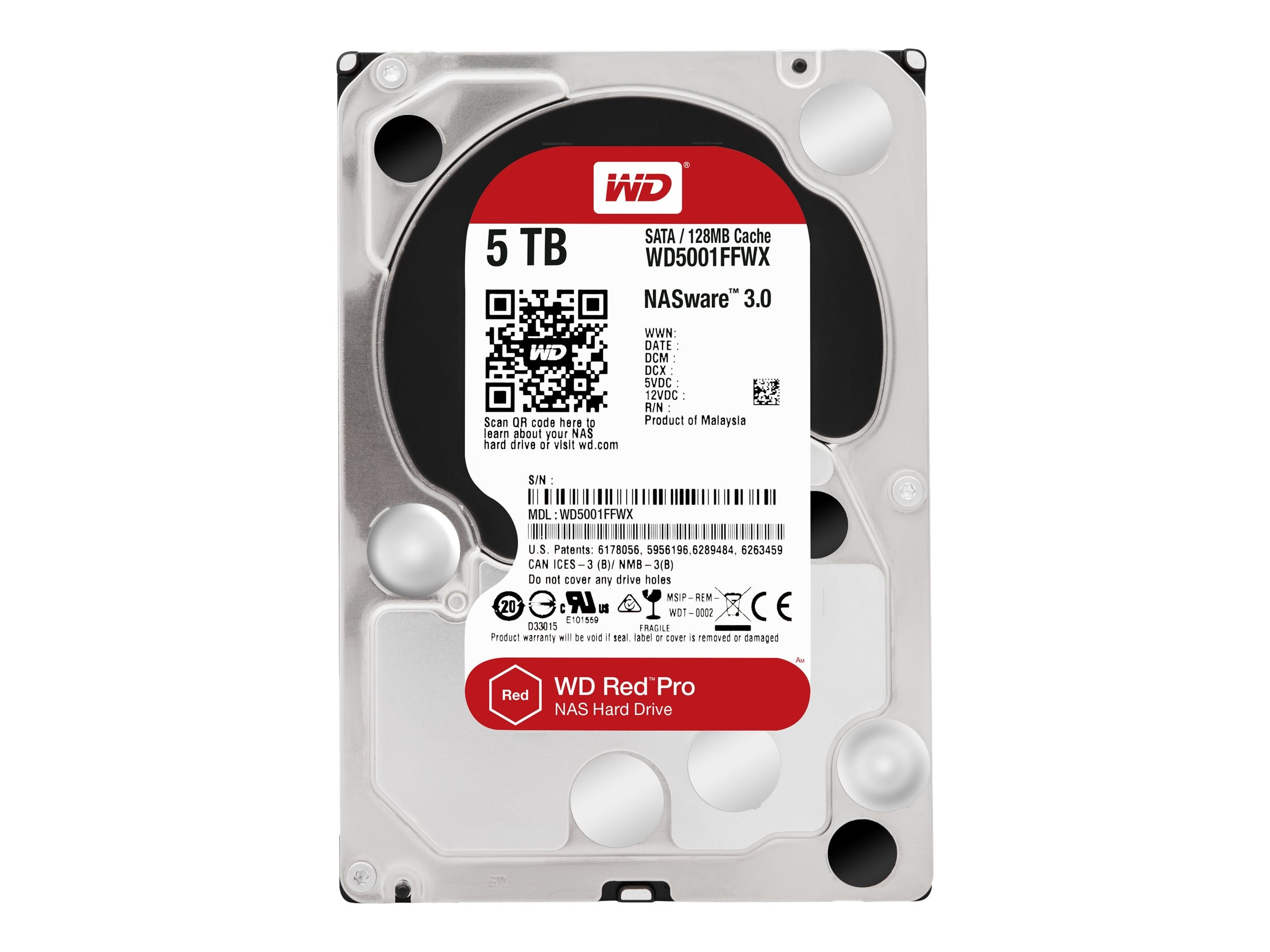 WD 5TB WD Red Pro SATA 6Gb s 3.5 Internal Hard Drive, WD5001FFWX, 30360373, Hard Drives - Internal
