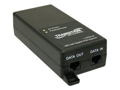 Transition 1-port 10 100 1000 PoE+ Injector with NA PS, L1000I-AT-NA, 13549916, PoE Accessories