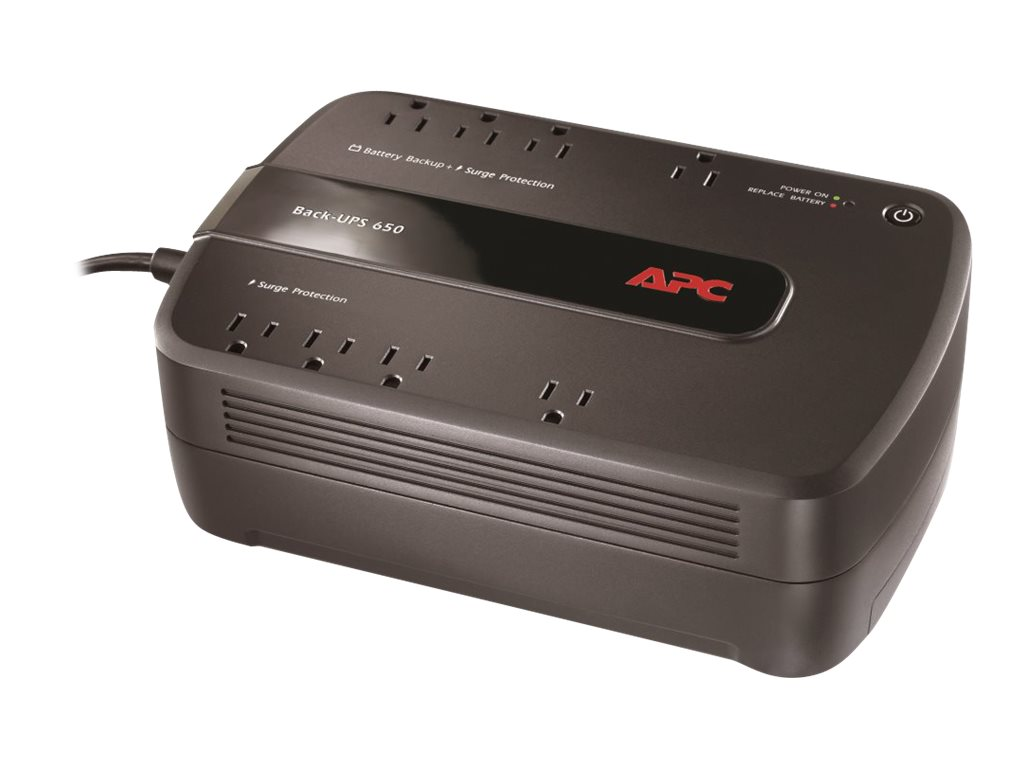 APC Back-UPS 650 650VA 390W 120V NEMA 5-15P Input 5ft Cord (8) 5-15R Outlets, Green edition, BE650G1, 13115982, Battery Backup/UPS