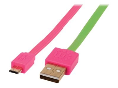 Manhattan USB 2.0 Type A to Micro USB Type B M M Flat Cable, Pink Green, 1m