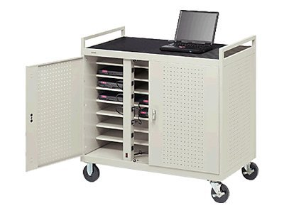 Bretford Manufacturing 24 Unit Notebook Storage Cart, Welded with 5 Casters and Electrical Unit (Front), LAP24EFR-GM, 4955437, Computer Carts