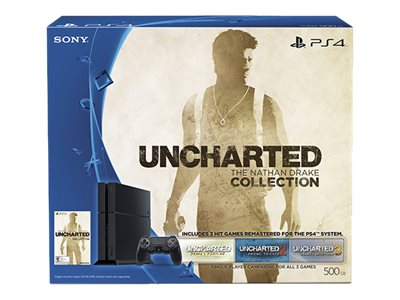 Sony PlayStation 4 500GB Uncharted: The Nathan Drake Collection Bundle, Black, 3001169, 30575366, Video Game Consoles
