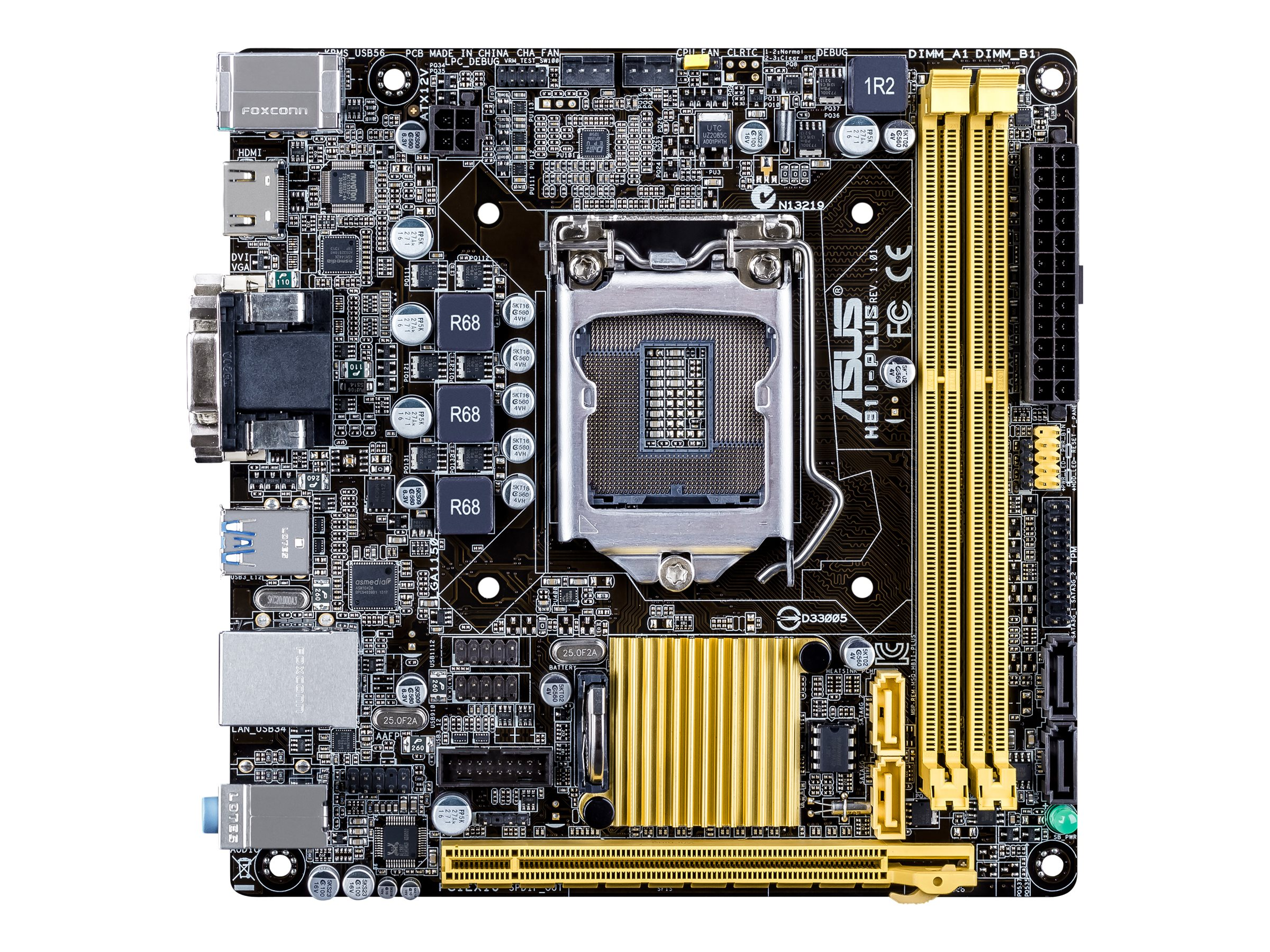 Asus H81I-PLUS Motherboard, Mini-ITX Core i Max. 16GB 4xSATA PCIe 2.0 x16 GigLAN, H81I-PLUS