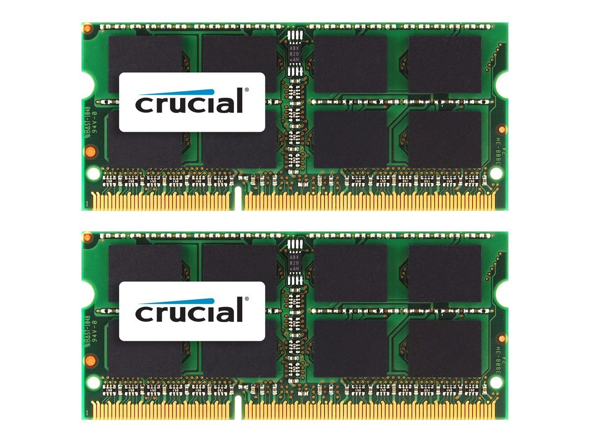 Crucial 16GB PC3-10600 204-pin DDR3 SDRAM SODIMM Kit for iMac, Mac Mini, MacBook Pro, CT2K8G3S1339M, 14581846, Memory