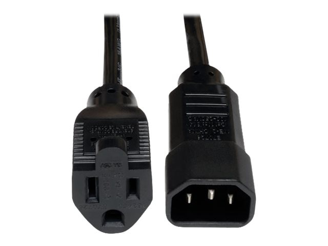 Tripp Lite AC Power Adapter Cord IEC-320 C14 to NEMA 5-15R 125V 10A 18AWG SJT Black 1ft, P002-001-10A