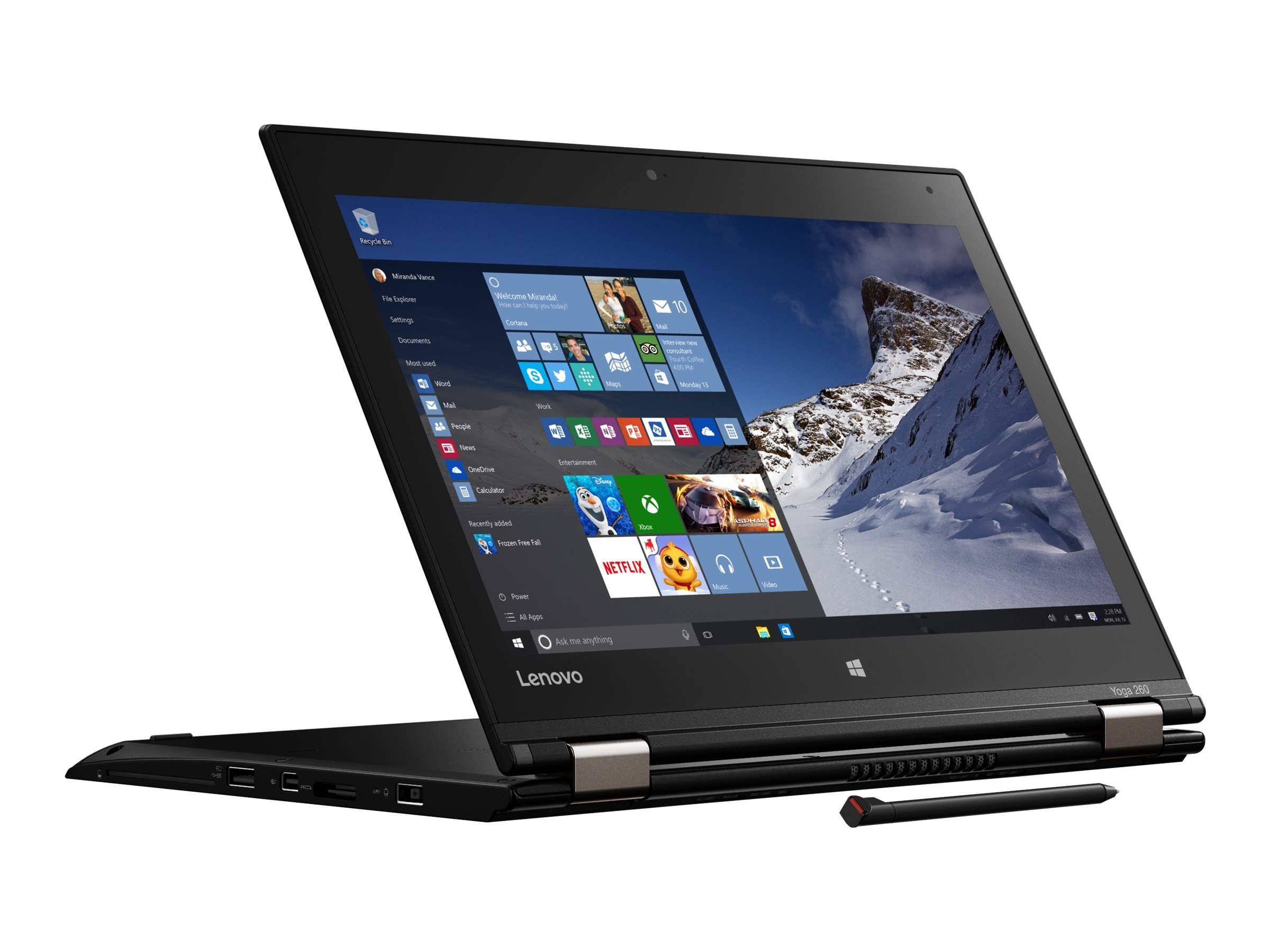 Lenovo TopSeller ThinkPad Yoga 260 Core i7-6600U 2.6GHz 8GB 256GB OPAL2 ac BT WC Pen 4C 12.5 FHD MT W10P64, 20GS000CUS