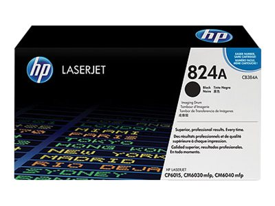 HP 824A Black Image Drum for HP Color LaserJet CP6015 & CM6040 mfp Printers, CB384A