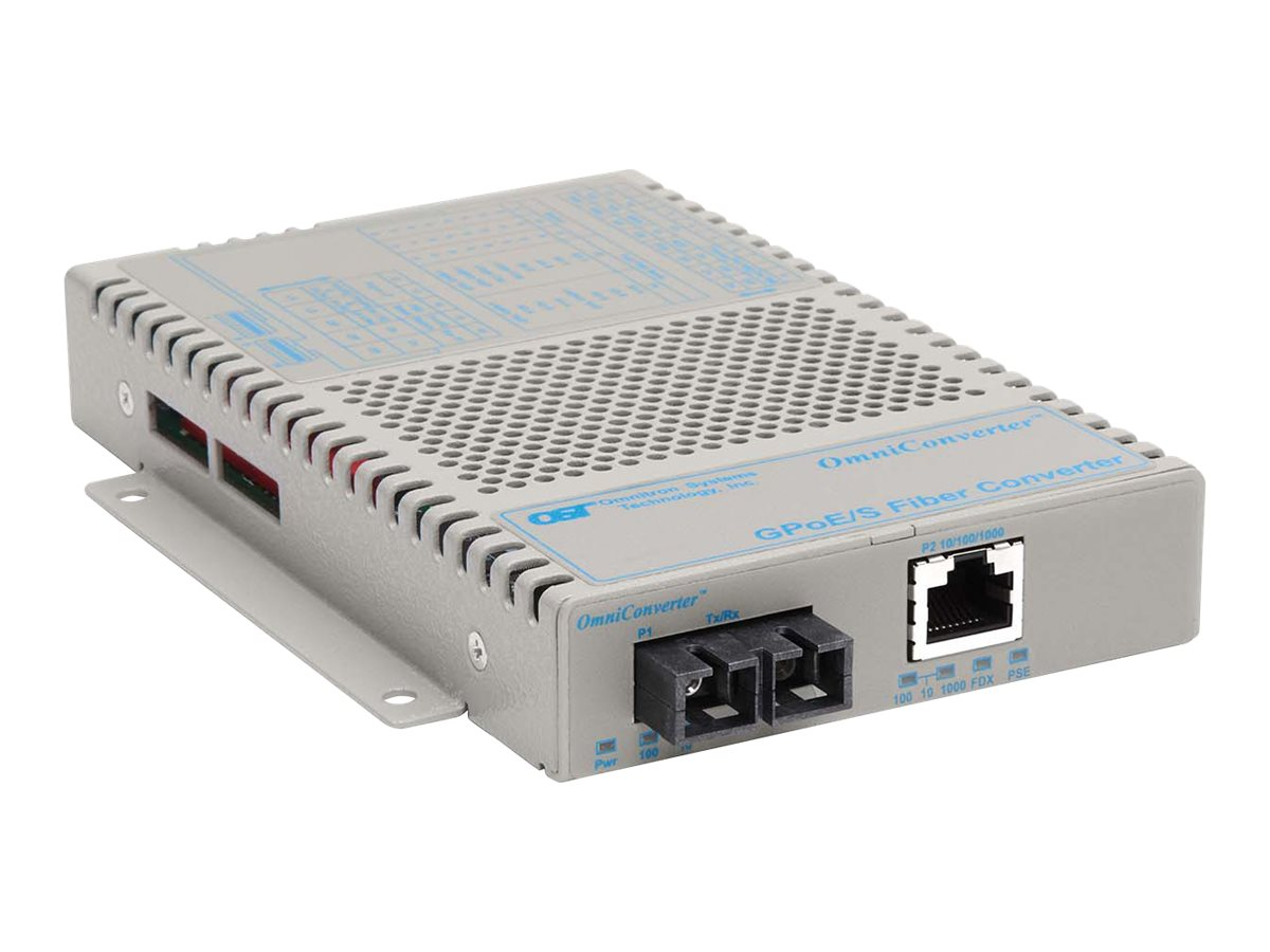 Omnitron OmniConverter GPoE S 10 100 1000T 1000X SC MM 850 550M 100-240, 9402-0-11, 12183422, Network Transceivers