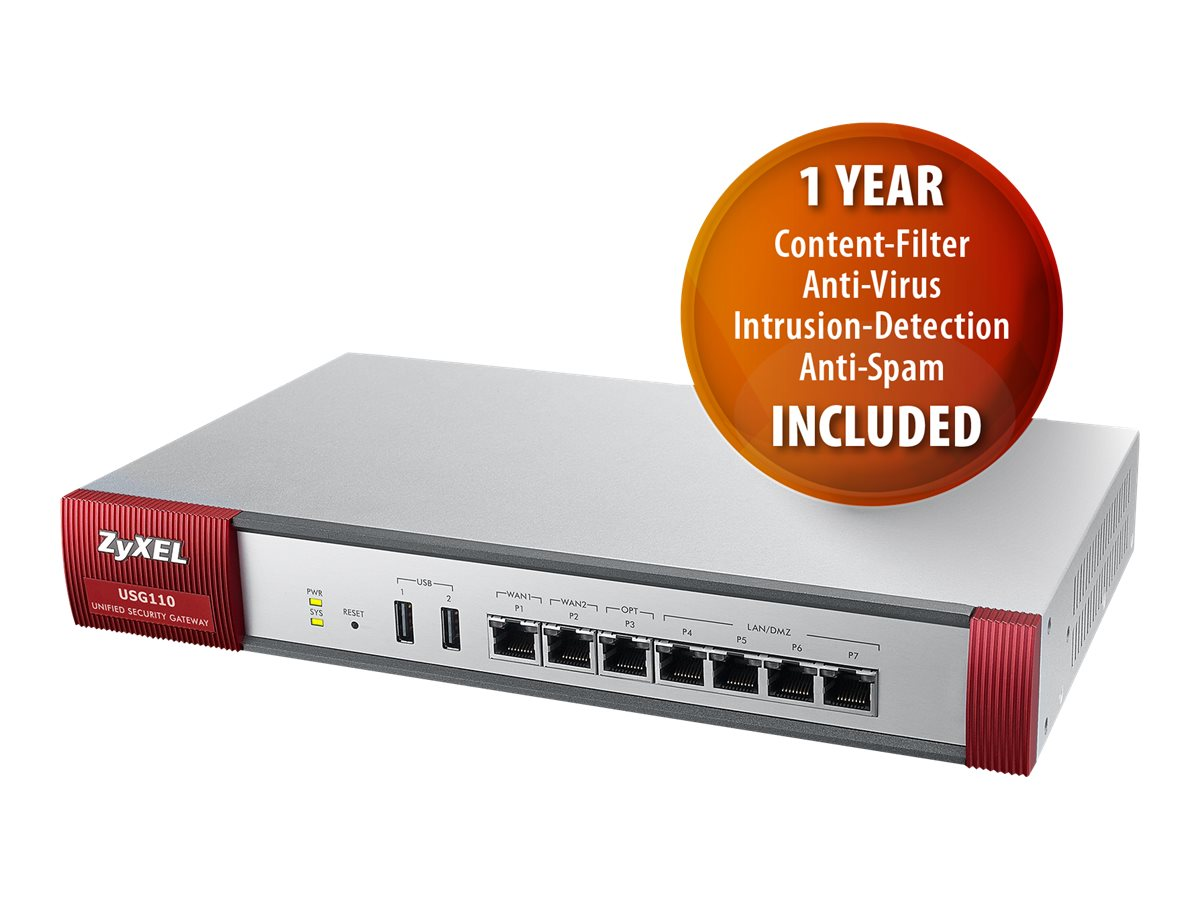Zyxel USG110 UTM Firewall VPN Router w 1 Yr CF AV IDP AS, USG110, 17425582, Network Firewall/VPN - Hardware