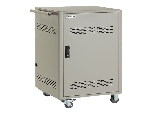 Black Box 32-Device iPad, Chromebook, Tablet, and Laptop Cart - Steel Top, Fixed Shelves, Hinged Door