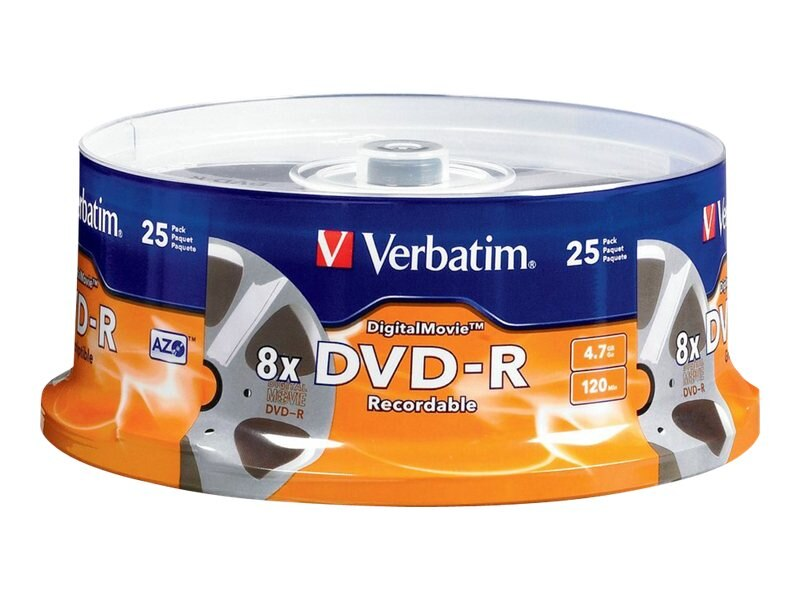 Verbatim 8x DigitalMovie 4.7GB DVD-R Media (25-pack Spindle), 94866, 4899771, DVD Media